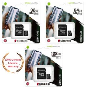 Kingston Micro SD Card 32GB 64GB 128GB Class 10 SDHC SDXC Phone Memory & Adapter