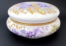 "Antique Hand Painted 8"" Porcelain Powder Box Jar Bowl Limoges Elite SM 1896"