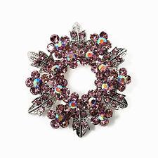 VINTAGE SILVER & VIOLA Diamante Lucido CORONA NATALE XMAS SPILLA PIN BR245