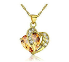 Fashion Womens Heart Amber Crystal Rhinestone Gold Chain Pendant Necklace NEW