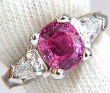 AGL Certified Natural Pink Sapphire Shield cut diamond ring platinum arthritis+