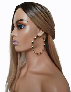 Gorgeous large sexy 8cm gold tone oversized CHUNKY TWISTED hoop earrings * NEW *
