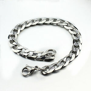 9/11/13/15mm Big Mens Boys Chain CURB LINK Silver Tone Stainless Steel Bracelet