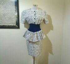 New listing 80s Dress Express Blue/White Print Wide Smocked Waist Peplum Pencil Dress Sz M