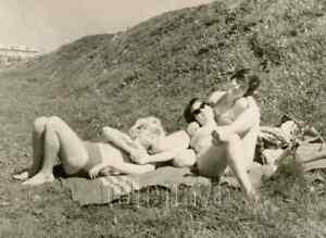 1970s Pretty Soviet Young Women Hug Close Bikini Bare Legs Beach Russian photo