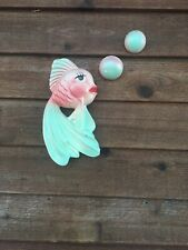 Vintage Miller Studio Chalkware Fish With Bubbles Wall Plaque 1964