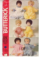 Doll Clothes Overalls Dress Gown Bunting Vintage Butterick Sewing Pattern 226