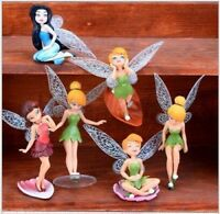 1 Set of 6 Disney Princess Tinker Bell Fairies Figures Dolls Ornament Toy 7-10cm