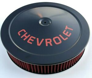 Chevrolet Air Cleaner BLACK/ RED Logo WITH RED WASHABLE FILTER Chevelle Camaro +