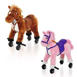 Rocking Horse Little Baby Plush Toy Wooden Style Ride on Rocker Sound Kids Gift
