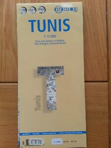 MAP OF TUNIS TUNISIA SMALL FOLD OUT MAP ON PLASTIC TOURIST MAP WORLD MAP