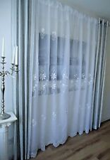 Embroidered Luxurious Voile fabric,White and Beige 280-290cm/114 inch wide !