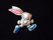 """JJ"" Jonette Jewelry Silver Pewter 'Running RABBIT in Sneakers' Tac Pin"