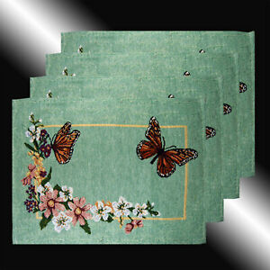 NEW SET OF 4 FRENCH COUNTRY BUTTERFLY FLOWER TAPESTRY DECO TABLE LINEN PLACEMATS