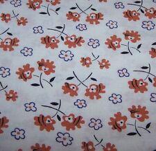 VINTAGE ORG COTTON FEED FLOUR SACK BAG-MOD FLOWER PRINT-SEW-QUILT-FABRIC-