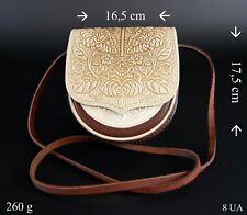 Leder Damen Tasche Umhängetasche Schultertasche Braun Beige 100% Leder