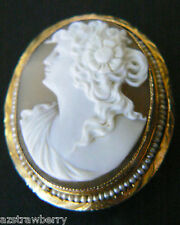 VTG 10k Gold Seed Pearls Framed Gorgeous Cameo Pin Brooch Pendant