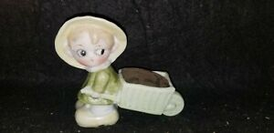 ANTIQUE GERMAN BISQUE porcelain SIDE GLANCING CHILD PULLING CART PIN CUSHION
