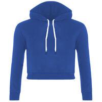 New Women Fleece Long Sleeve Crop Top Pullover Hooded Sweatshirt Cropped Hoodie