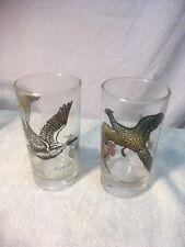 Vtg HAZEL ATLAS Pheasant Hunting Bird/Dog/Hunter/Gun Drinking Glasses Set of 2