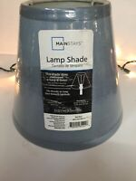 MAINSTAYS SLATE BLUE PATTERN ROUND ACCENT DRUM LAMP SHADE