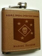 USMC Marine Corps Special Ops Command SOCOM Marine Raiders Leather 6oz Flask