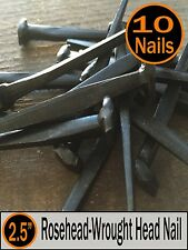 "(10) 2.5"" - Rosehead Nails  - Decorative Antique wrought square head - 8d"