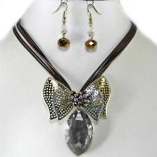 Black Diamond Glass Crystal Bow Gold Silver Necklace Earrings Jewelry Set