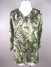 *CHICO'S* T750 SIZE 0 WOMEN'S MULTI COLOR V NECK 3/4 SLEEVE CASUAL TOP