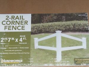 "48"" YARD WORKS White Vinyl TWO RAIL CORNER ACCENT Fence KIT      (RM-4)"