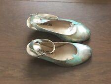 Jan Jansen Mint Green Patterned Ankle Strap Ladies Mid Heeled Shoes UK Size 38