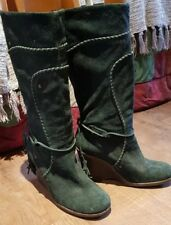 Faith dark bottle green suede calf boots with wedge heels and tassel UK 4