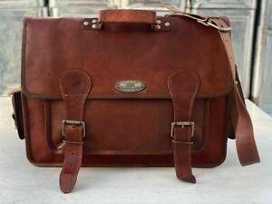 Leather Extra Large Men's Briefcase Messenger Satchel Laptop Bag 18 Inch Buffalo