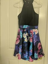 Floral party dress sleeveless top Ladies size 8 to 10 club wear puffy skirt 10c