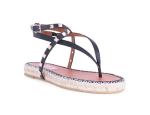 Valentino Garavani Women Rockstud Thong Espadrille Slides Black Size 38 NIB $750