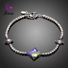 Luxurious Zircon Austrian Crystal Three Stars Love Chain Platinum Plated Brace