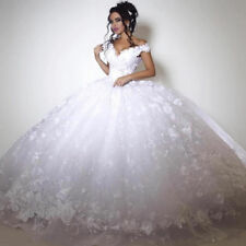 Luxury Ball Gown Handmade Flowers Lace Wedding Dresses Bridal Gowns 6 8 10 12++