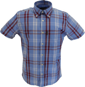 Trojan Mens Sky Check 100% Cotton Short Sleeved Shirts and Pocket Square