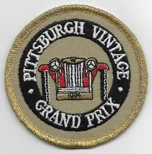 "EMBROIDERED PATCH~1994 PITTSBURGH GRAND PRIX PATCH,FRONT OF ANTIQUE CAR~3"" ROUND"