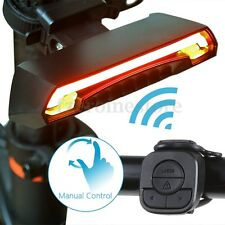 Bicycle Bike Rear Tail Laser LED Indicator Turn Signal Light Wireless Remote USB