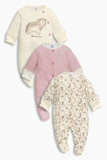 ВNWT NEXT Baby Playsuits • Pale Pink Bear Sleepsuits 3pk • 100% Cotton • 0-3 Mon
