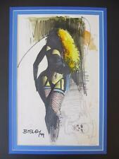 Pin-Up Girl Illustration by Simon Bisley on mixed media - 1999 (Original Art)!!!