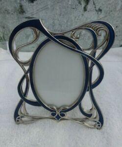 Art Nouveau style photo frame silver tone and blue enamel nice design