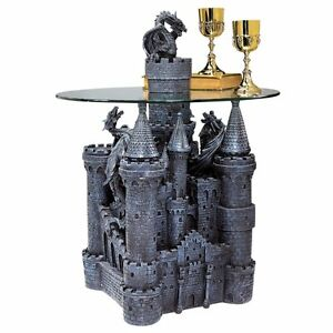 CL0006 - Lord Langton's Castle Glass-Topped Sculptural Table - Gothic - Dragons!