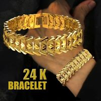 Fashion Men's 24K Gold Plated Bracelet Atmosphere Chain Bracelet Jewelry