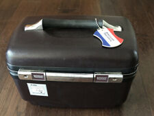Vintage American Tourister Make Up Train Cosmetic Case Brown w/ Mirror No Key
