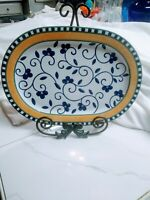 "Mikasa Fine Porcelain China SL110 FIRENZE 15"" Oval Serving Platter Blue Floral"
