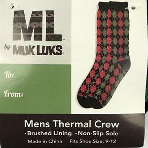 Muk Luk Thermal Crew Socks Holiday Christmas Non-Slip Sole Mens 9-12