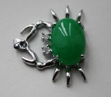 Crab Pendant 30mm by 25mm. Jade? Green Chalcedony?