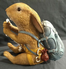 Resin Bunny in Climbing Gear - On Rope, hang from wall! RARE and Unique harness